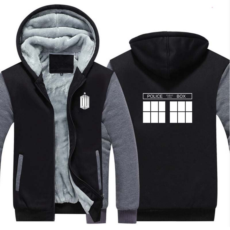 New Anime Doctor Who Thicken Hoodie Sweatshirts Cosplay Costume Cartoon Winter Warm Coat Hooded Men Clothing Gift