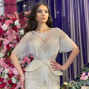 Image 3 - Женское вечернее платье с юбкой годе, серебристое платье с кисточками и бисером, роскошное привлекательное официальное платье с рукавом до локтя, модель DLA70342, 2020