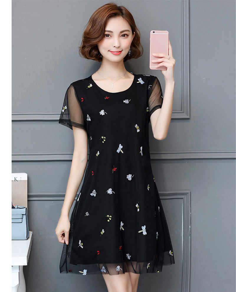 2019 elegante Sommer Kleid Frauen Stickerei Schwarz Mesh Chiffon Party Kleider Kurzarm Schlank Vestidos Plus Größe 5XL 767