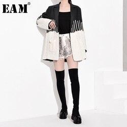 Женская куртка EAM, Свободная трикотажная куртка серого цвета с длинным рукавом и отложным воротником, весна-осень 2020, JZ2481