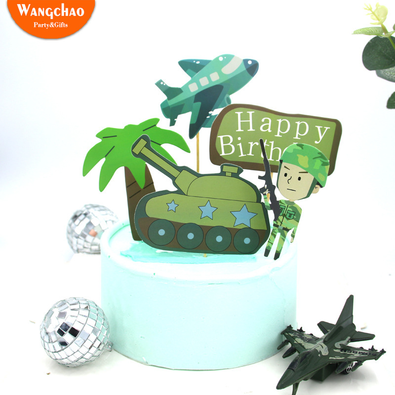 1 Set Small Tank Airplane Military Army Party Theme Cake Topper Boy Children's Birthday Cake Supplies Party Decorations image
