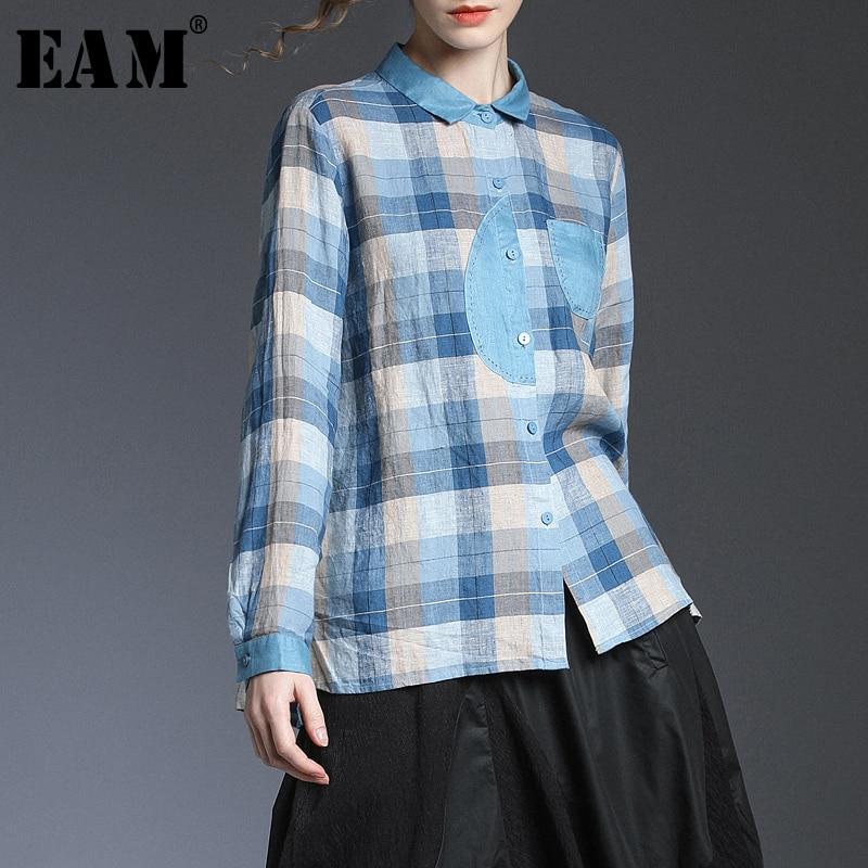 [EAM] Women Plaid Split Joint Linen Temperament Blouse New Lapel Long Sleeve Loose Fit Shirt Fashion Spring Autumn 2020 1T418