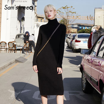 SAM'S TREE Multicolor Solid Minimalist Knit Pullover Sweater Dress Women 2020 Winter Pure Split Long Sleeve Soft Ladies Dresses
