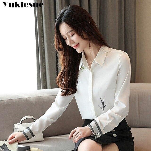 2020 Autumn New Fashion Women Blouse Embroidery White Shirt Long Sleeve Casual Tops Loose Shirt Blusas Feminina Plus size 4