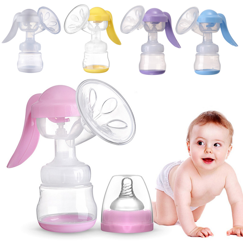 Manual Breast Pump Powerful Baby Nipple Suction 150ml Feeding Milk Bottles Breasts Pumps Bottle Sucking Silicone Pumps