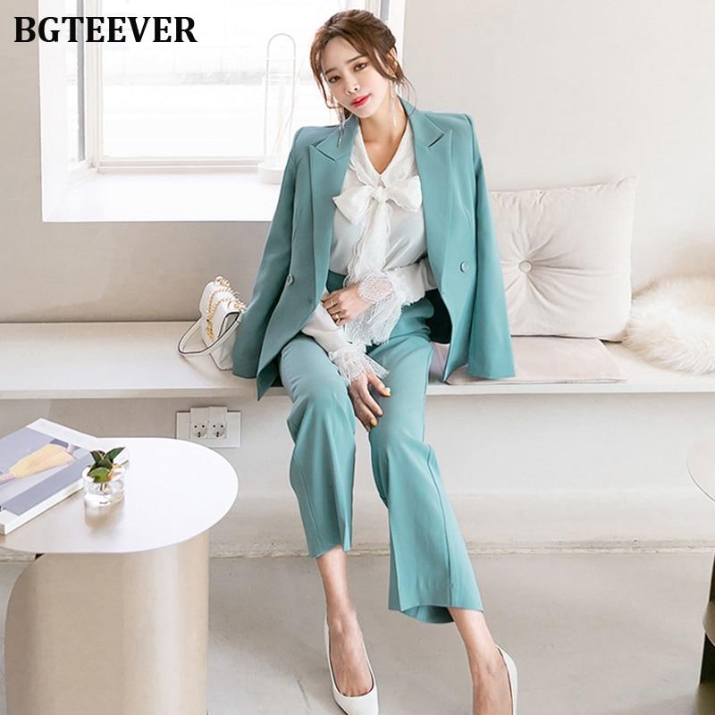 Office Ladies Double-breasted Women Blazer Suits Elegant Women Pant Suits Slim Jacket & Loose Pants Set Female Work Suits 2019