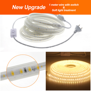 Image 2 - 220V LED Streifen 2835 Hohe Helligkeit IP65 Wasserdichte Flexible LED Lampe Hohe Sicherheit Outdoor LED Licht Band mit 1 meter Draht + Stecker