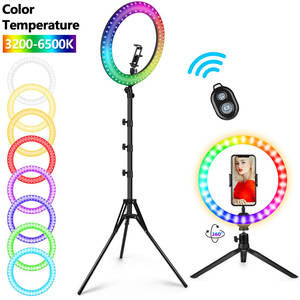Ring-Light Tripod Stand Dimmable Youtube Tiktok Live Colorful LED with Big RGB