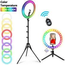 Rgb selfie anel de luz com tripé pode ser escurecido estúdio anel lâmpadas com grande suporte led selfie ringlight lâmpada para tiktok youtube ao vivo