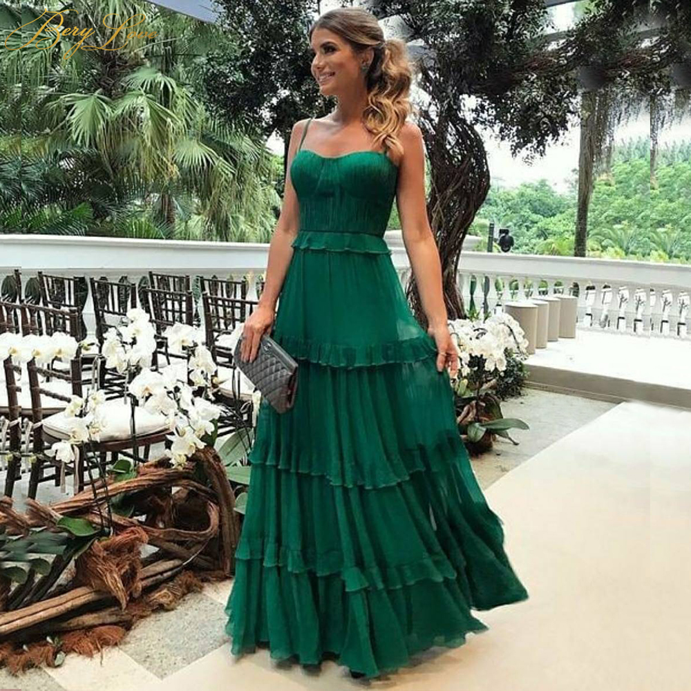 BeryLove Decent Green Evening Dress 2019 Straps Vestidos De Fiesta Crumple Chiffon Robe De Soiree Layers Tiered New Prom Gowns