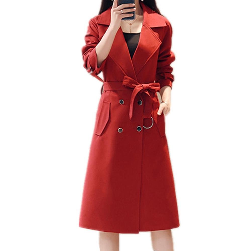 2019 Women Spring Autumn Coat Overcoat Long Sleeve Double Breasted   Trench   coat female New Fashion OL Office Outerwear