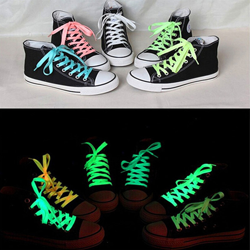 100cm Sneaker Luminous ShoeLace Polyester Neon Color Shoes Laces Glow In The Dark Night Slightly Fluorescent Elastic Shoelaces