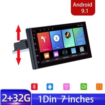 Radio de coche 1 Din 7 radio FM Audio de coche estéreo Bluetooth autorradio apoyo cámara de visión trasera volante Contral