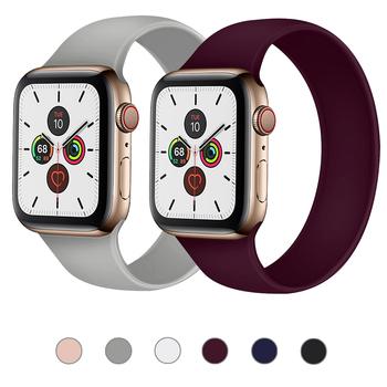 Pasek do zegarka Apple Watch 5 pasek 40mm 44mm iWatch serie 4 5 6 SE elastyczny pas silikonowy Solo bransoletka pętli pasek do Apple watch 42mm 38mm tanie i dobre opinie ProBefit CN (pochodzenie) Inne Od zegarków RUBBER Nowy z metkami For apple watch 200001557 200001557