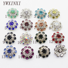 Wholesale prices!Shiny Crystal Button 5pcs Metal Rhineston