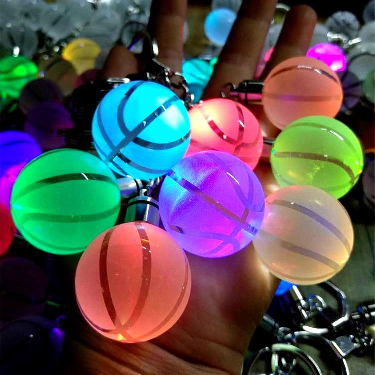 Basketball Football Keychain Ball Crystal Key Rings Scorpio Earth LED Birthday Gift For Women Home Party DIY Decoration
