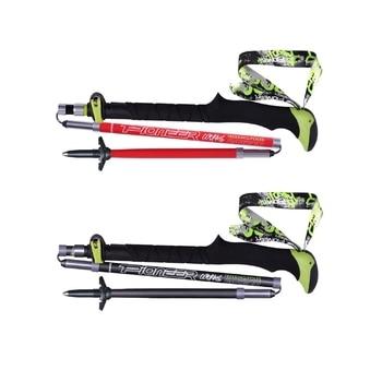 Pioneer Carbon Fiber Walking Sticks Folding Trekking Poles Ultralight Alpenstocks For Outdoor Camping Hiking Trail Running недорого