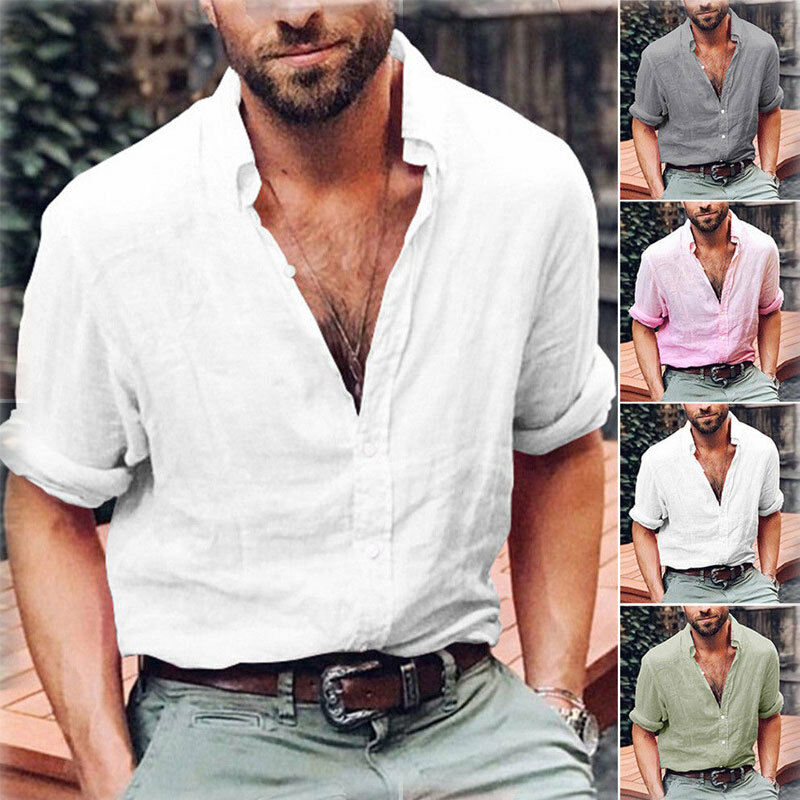 Mens Long Sleeve Shirt Cotton Linen Beach Loose Fit Tops Blouse V Neck Pullover New Plus Size