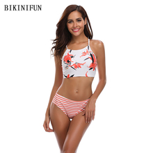 New Sexy Floral Print Bikini Women Swimsuit Cross Back Bandage Swimwear S-XL Girl Backless Halter Bathing Suit High Waist