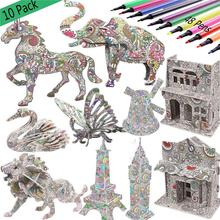 DIY kolorowanki do malowania zwierząt 3D zestaw puzzli Model dekompresji zabawki dla dzieci Graffiti edukacyjne zabawki tanie tanio Unisex 13-24 miesięcy 3 lat Papier 3D PUZZLE cartoon 3D puzzle (lion dinosaur horse elephant) 4 pieces paper stereo jigsaw puzzle