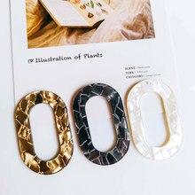 Brinco de resina de plástico ácido acético, pingente oval, colar de material diy, acessórios para joias, componente de joias 6 peças