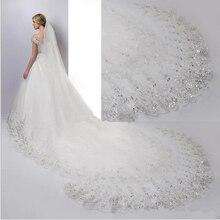 Düğün duvağı beyaz fildişi katedrali düğün duvağı s uzun dantel kenar gelin peçe ile tarak düğün aksesuarları gelin Veu