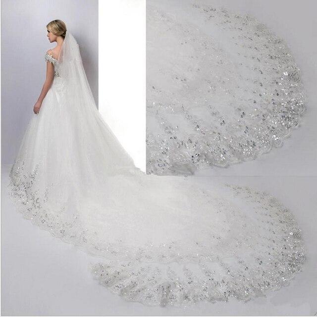 طرحة زفاف أبيض عاجي كاتدرائية طرحة زفاف s طويل دانتيل حافة الحجاب الزفاف مع مشط اكسسوارات الزفاف العروس Veu