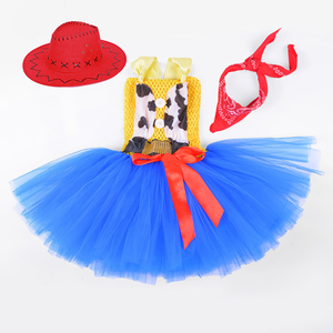 Image 5 - Toy Woody Cowboy Cowgirl Girls Tutu Dress with Hat Scarf Set Outfit Fancy Tulle Girl Birthday Party Dress Kids Halloween Costume