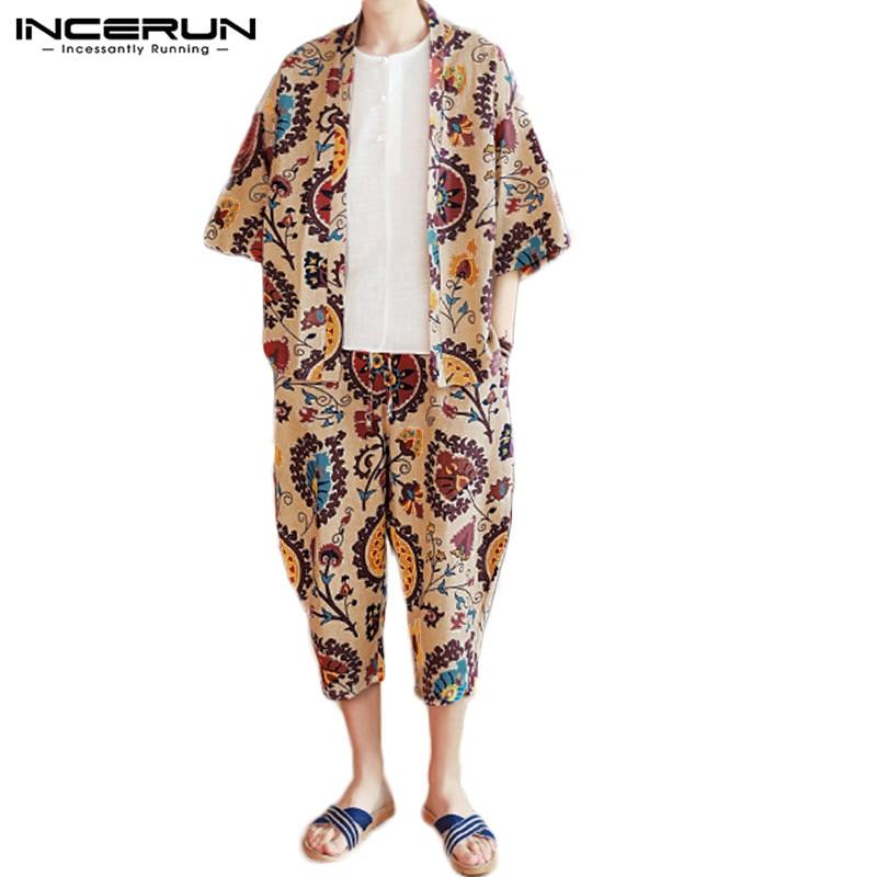 Fashion Homewear Men Funny Printed Half Sleeve Kimono Shirt+Shorts Sleepwear Sets Comfort Cotton Soft Mens Pajamas Suit INCERUN
