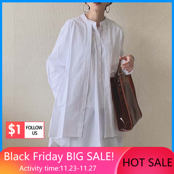 Korean Fashion Women Blouse 2020 Spring Summer Long Sleeve Fake Two Piece Patchwork Pullover Loose White Shirts Female Tops 2019 spring new women half sleeve loose flavour black dress long summer vestido korean fashion outfit o neck big sale costume