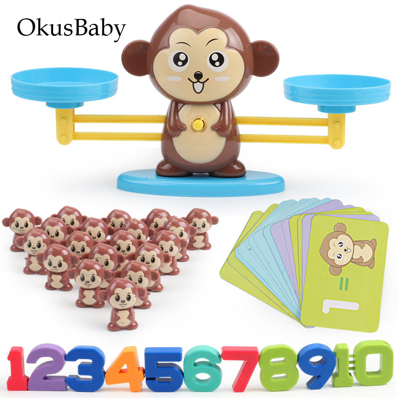 New Match Game Board Toys Monkey Digital Balance Scale Toy Kids Arithmetic Early Educational Toy Addition Subtraction Math Set image