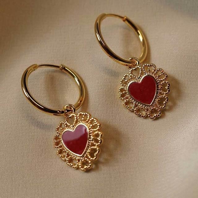 2020 New Fashion Red Enamel Heart Cham Clip On Earrings Butterfly Earrings Hoops For Women.jpg 640x640 - 2020 New Fashion Red Enamel Heart Cham Clip On Earrings Butterfly Earrings Hoops For Women