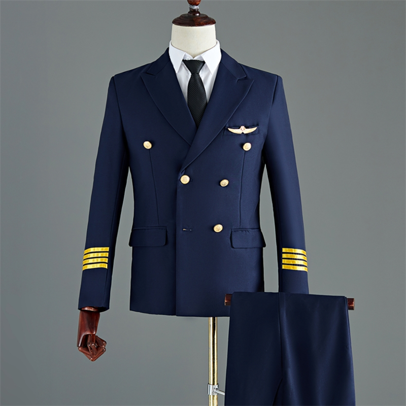 New Aviation Uniform Male Staff Suit Costume Performance Suits Men Clothing Airline Captain Uniforms
