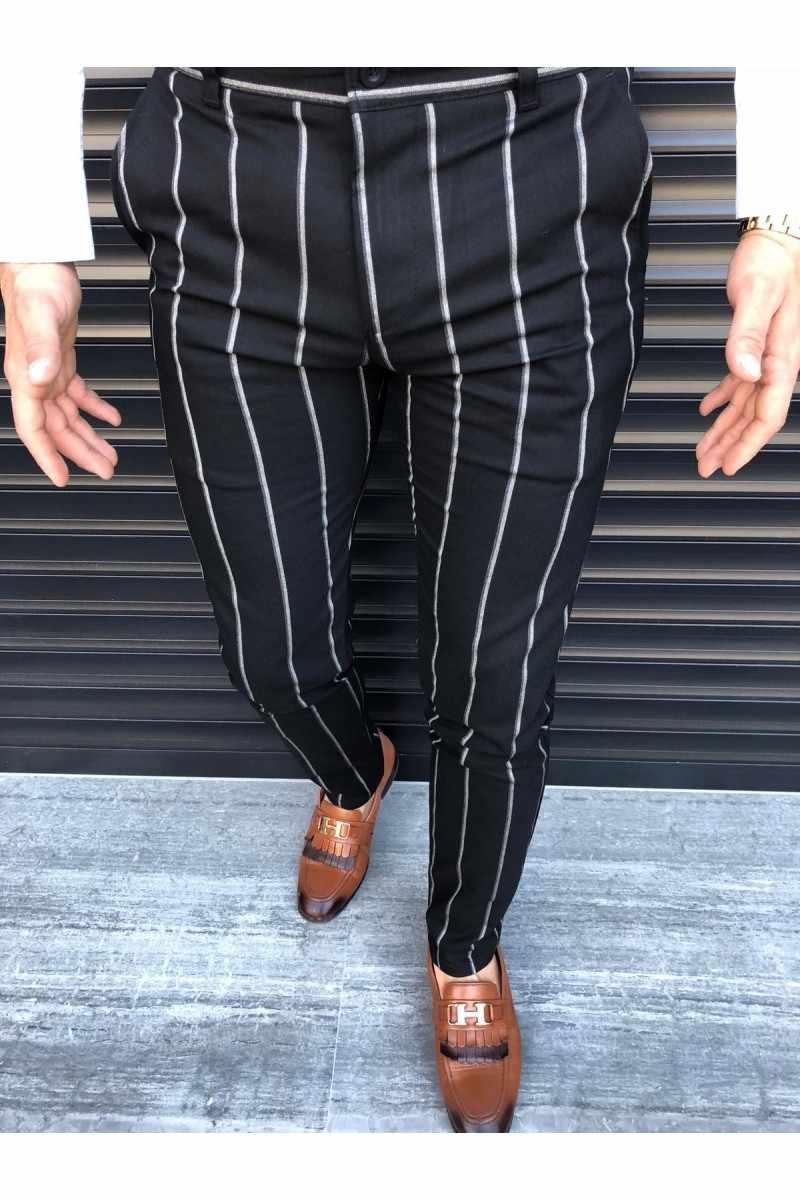 2019 新メンズカジュアルスリムフィットスキニービジネス正式パンツファッション鉛筆チェック柄カジュアル男性のズボン 4 色