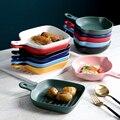 Кухонные сковороды круглой и квадратной формы, 1 шт., с ручкой, керамическая антипригарная основа, противень для выпечки, жаропрочная плита д...