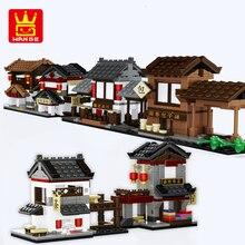 цена на China street View Compatible Architecture City Food Shop House Dinner Restaurant Model Building Blocks Bricks toys