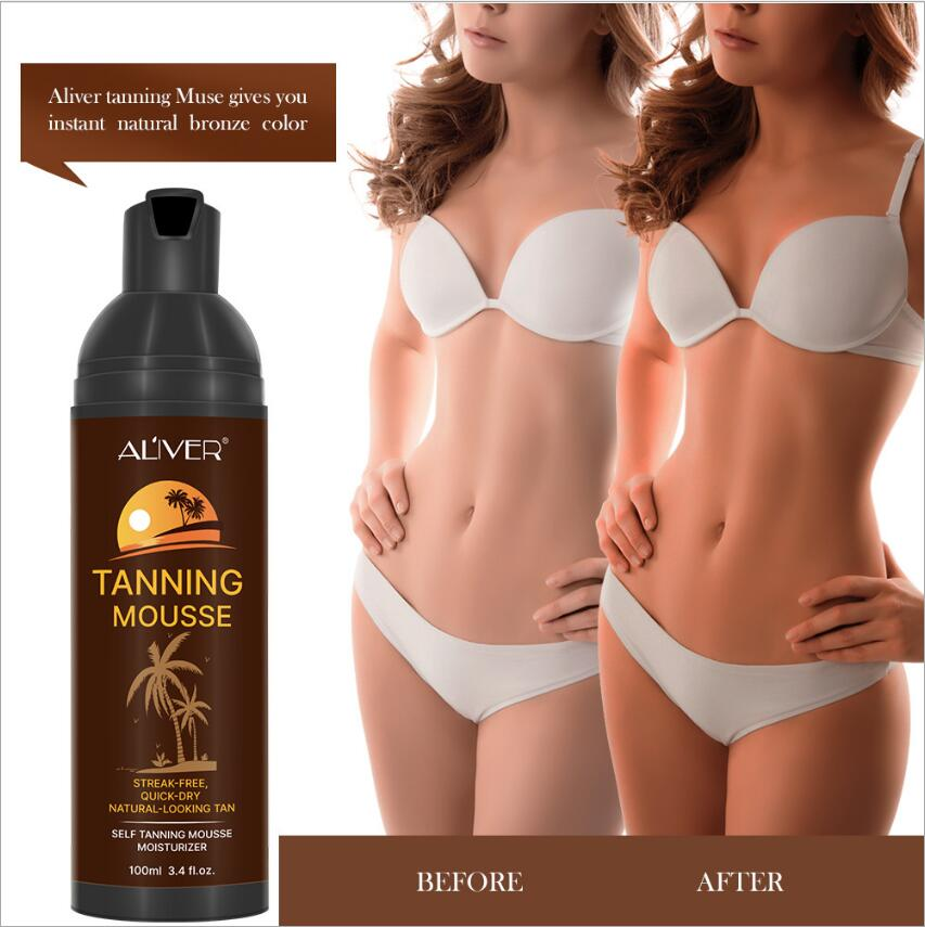 Hot Moisturizing No Streaks Self Tanning Mousse,Fast-Dry Instant Fake Tan Sunless Tanning Lotion Body Bronzer Darker, Unisex