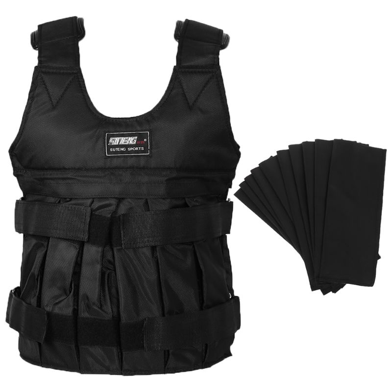 50kg Max Black Adjustable Loading Weighted Vest Durable Thickening Exercise Training Fitness Jacket Waistcoat
