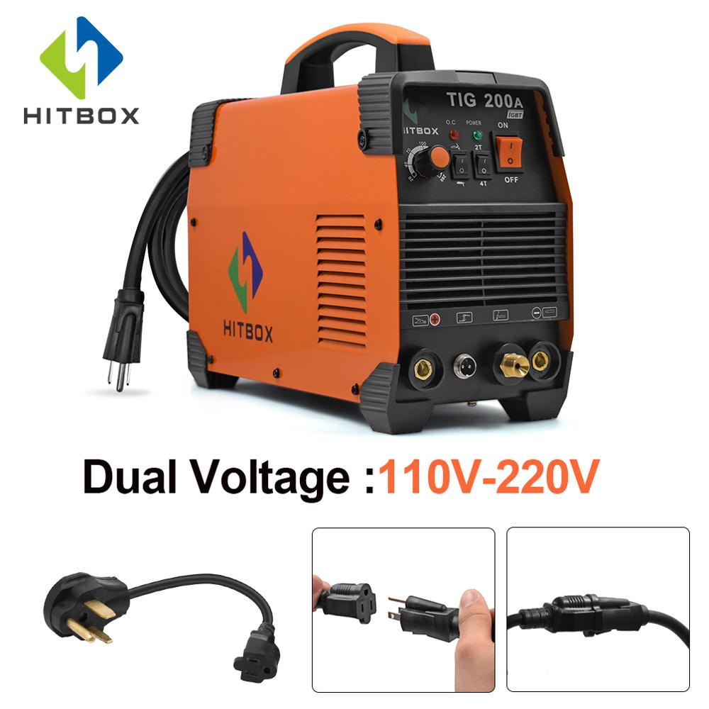 HITBOX Tig Welder TIG ARC TIG200A 110V 220V Dual Functions MMA TIG 2T 4T Technology Welding