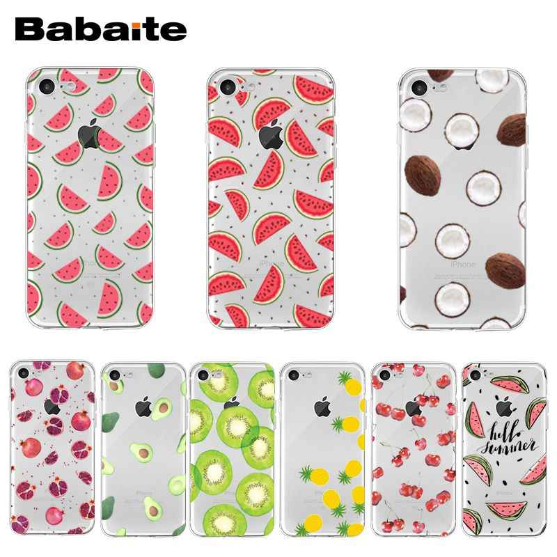 Babaite Leuke Transparante Zomer Fruit Watermeloen Transparante Cover Case Voor Iphone 11 Pro Xs Max Xr 8 7 6 6S Plus X 5 5S Se