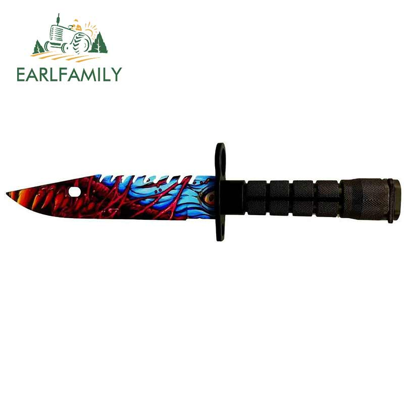 EARLFAMILY, 13cm x 3,3 cm, para CSGO Skin M9, cuchillo de bayoneta, pegatinas de Camper para coche, calcomanía fina de moda, decoración de estilo impermeable para coche