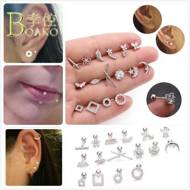 Punk Stainless Steel Zircon Ear Bone Piercing Plugs Moon Eyebrow