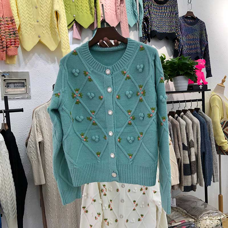 NiceMix Rivet Embroidery Open Stitch Round-neck Full Sleeve Loose Women Sweater Coat 2019 Autumn Japan Korea Style