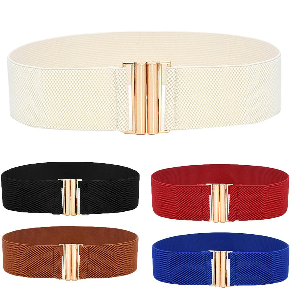 Lady Solid Color Buckle Wide Faux Leather Elastic Waistband Belt For Jeans Pants