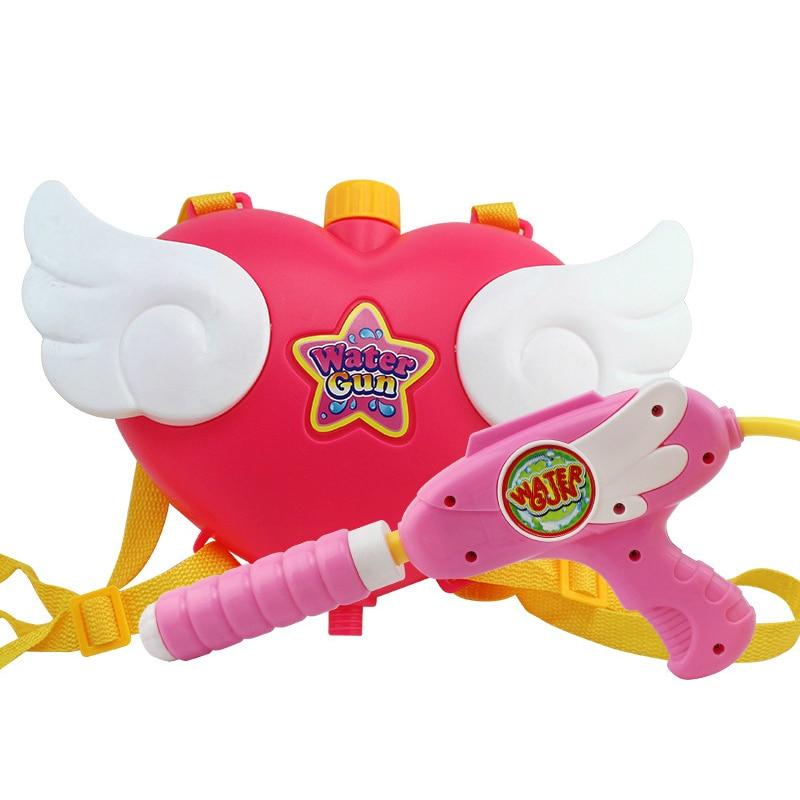 New Summer Pink Heart Angel Model Backpack Water Gun Toys For Children Girls Toys Children Beach Games Swimming Outdoor Toys