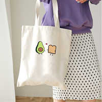 Avocado Bread Love Women Canvas Shopping Bag Cartoon Printed Shoulder Bag Female Large Capacity Ladies Beach Bag Canvas Tote