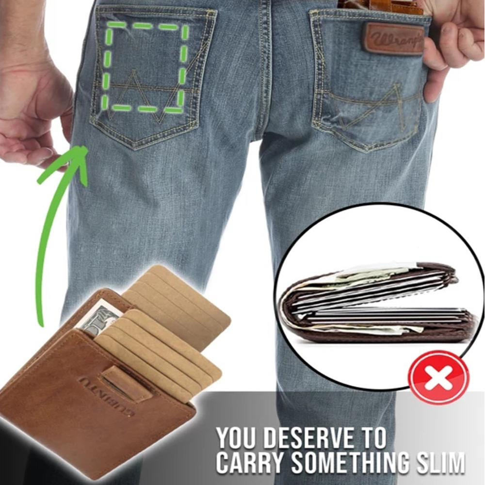 Men Wallets RFID Slim Small Leather Wallet Man With Double Pull-out  Antimagnetic RFID Purse Carteira  #2N28