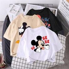 Camiseta de Disney de Mickey Mouse párr mujer de blusa corta Regular con cuello redondo Tops blancos... camisa holgada para mujer 2