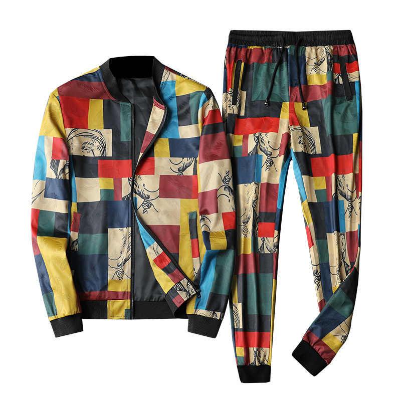 Острый клетчатый принт мужские спортивные костюмы 2019 Abbigliamento Uomo комплект из 2 предметов Dresy Meskie Esofman takыmдиаметром роскошный модный мужской спортивный костюм