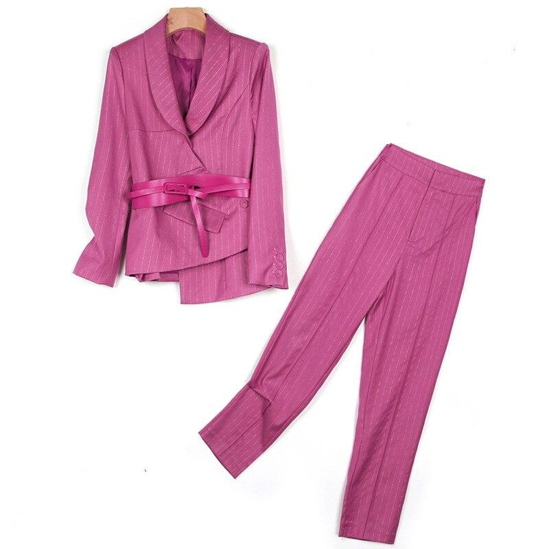Office lady striped suit jacket and pencil pants 2 pieces suit women blazer set women suits office sets pantsuit women suits set